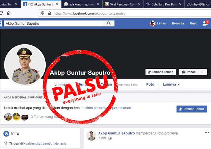 FOTO : Screenshot/Caption Facebook Palsu Mengatasnamakan Kapolres Tanjung Jabung Barat, AKBP Guntur Saputro, S.IK, MH