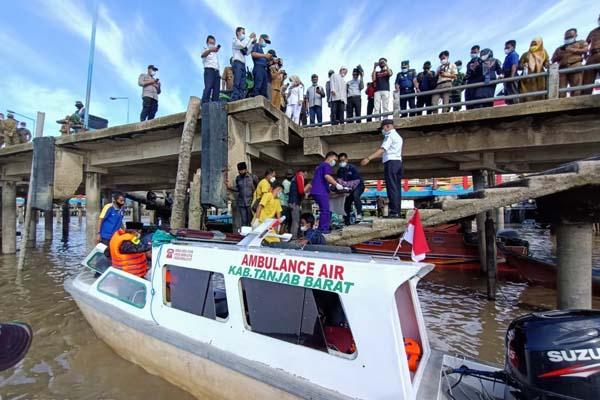 FOTO : Speedboad Viber Ambuan Air Pemkab Tanjab Barat Operasionalnya diresmikan oleh Bupati Anwar Sadat, Selasa (15/06/21).