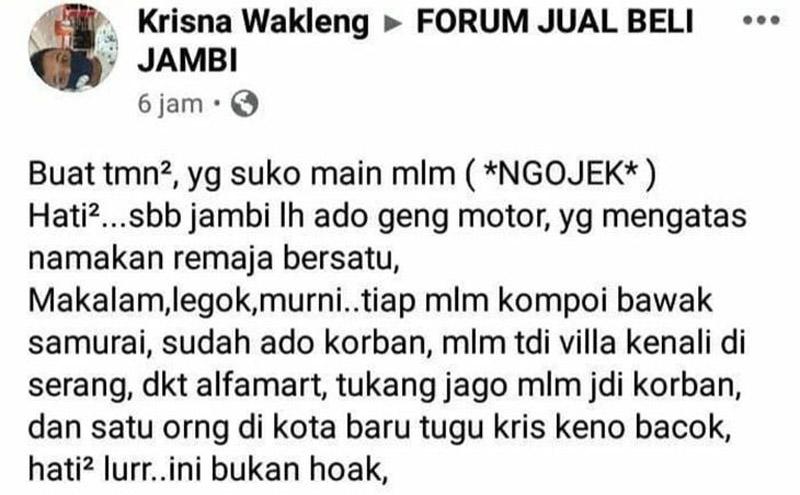 FOTO : Captions Salah satu isi postingan akun facebook Forum Jual Beli Jambi