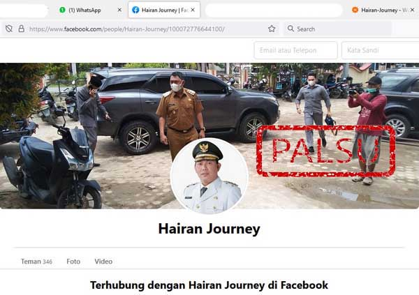 Gambar Tangkapan Layar PC Akun Facebook 'Hairan Journey.