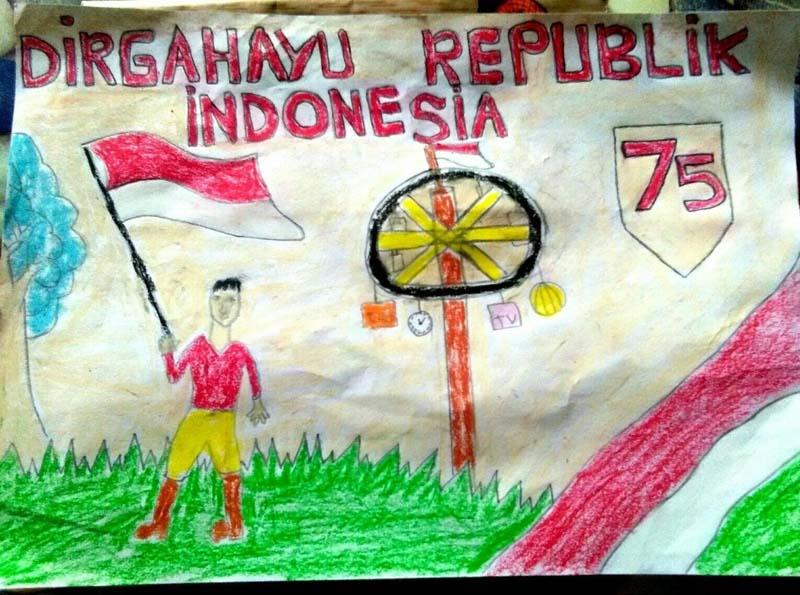 CAPTION FOTO : Sejumlah Hasil Karya Poster Kemerdekaan Siswa Batang Hari dalam Rangka kemerdekaan HUT RI ke 75.