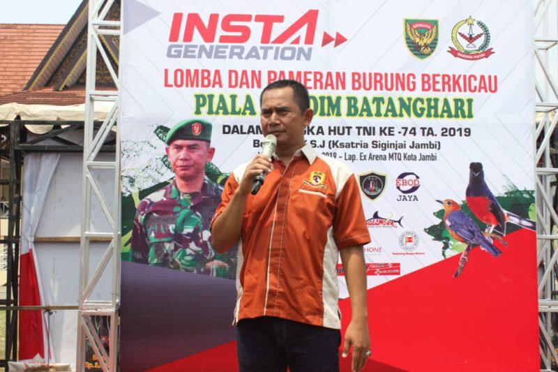 FOTO : Dandim 0415/BTH Kolonel Inf J Hadiyanto Saat Membuka Lomba zburung Bekicau, Minggu (13/10/19)