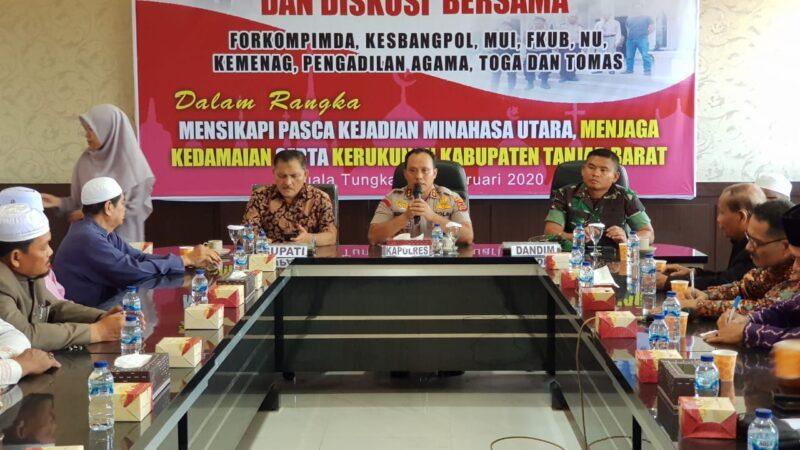 FOTO : Kapolres Tanjab Barat AKBP Guntur Saputro, SIK, MH Memimping Diskusi Silaturrahmi Bersama Pemda dsn Tokoh Lintas Agama, Minggu (02/03/20)