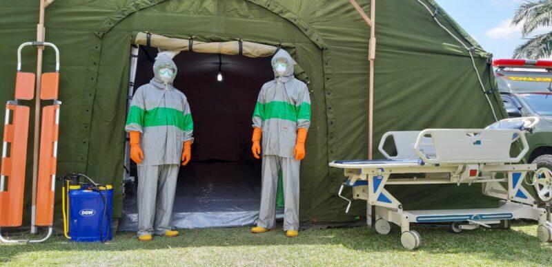 FOTO : Tenda Isolasi Siaga Covid-19 Korem 042 Gapu Jambi/Foto.Dok.Korem