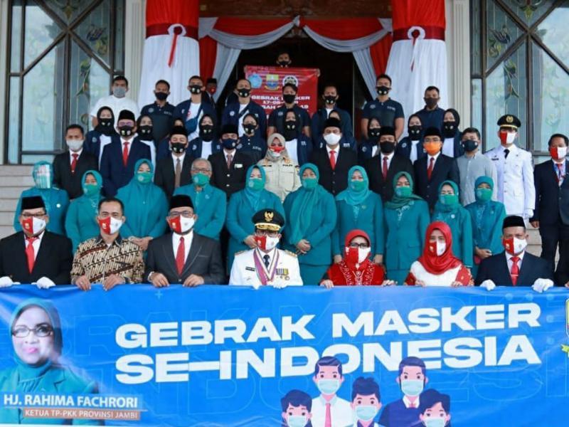 FOTO : Dok. Sukseskan Gerakan Masker, PKK Provinsi Jambi Disttibusikan 17 Ribu Masker Senin (17/08/20)
