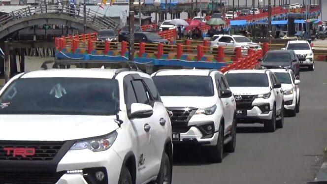 FOTO : Komunitas Toyota Fortuner Club Jambi Saat Mengadakan Touring hari kemerdekan RI ke 75 ke WFC Kuala Tungkal, Sabtu (22/08/20).