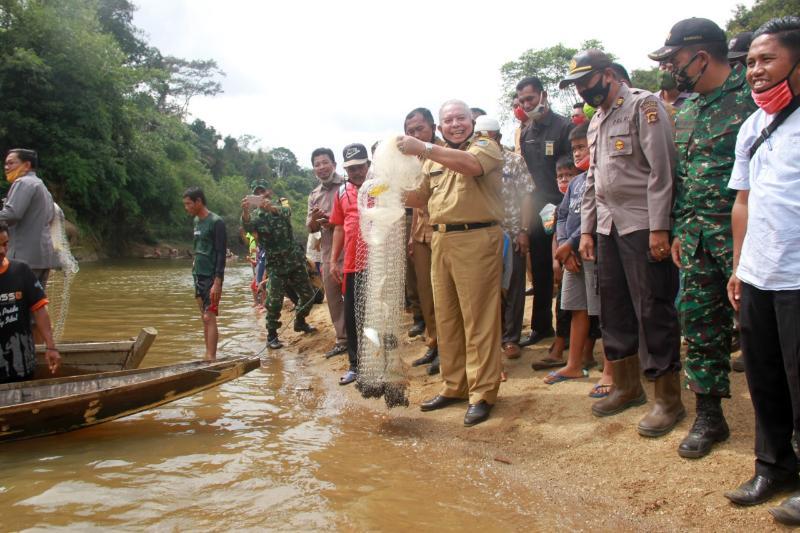 FOTO : Bupati Safrial Panen Ikan di Sungai Lubuk Larangan Raja Gagak Dusun Mudo, Kecamatan Muara Papalik, Selasa (25/08/20)