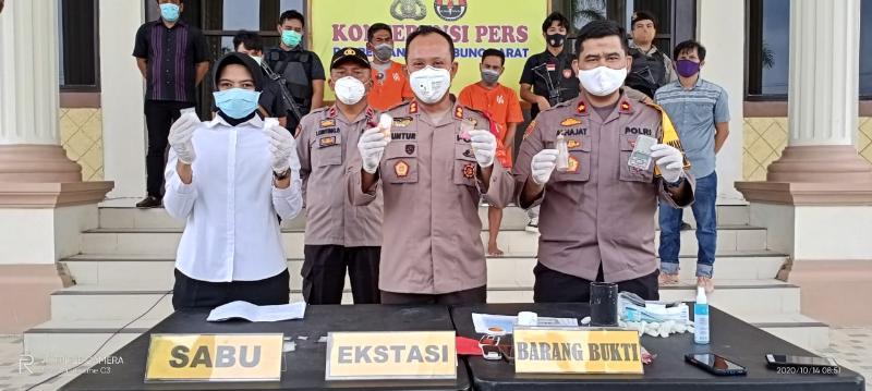 FOTO : AKBP Guntur Saputro saat press release pengungkapan kasus, Rabu(14/10/20).