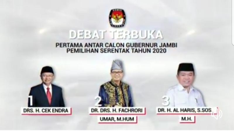 FOTO : Tiga Calon Gubrnur yang akan debat terbuks malam ini Sumber Gambar IG KPU Provinsi Jambi.