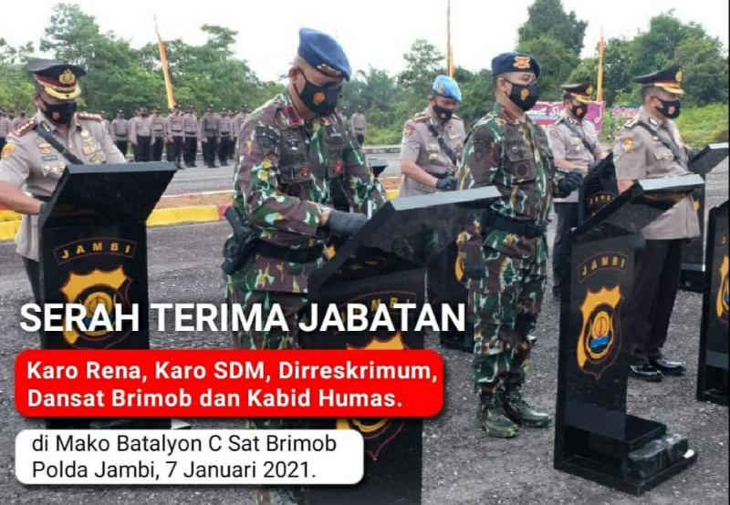 FOTO : Kapolda Jambi, Irjen Pol A Rachmad Wibowo memimpin Serah Terima Jabatan (Sertijab) lima pejabat utama Polda Jambi di Mako Batalyon C Satbrimob Polda Jambi di KM 7 Kelurahan Tebing Tinggi Kecamatan Tebo Tengah, Kamis (07/01/21).