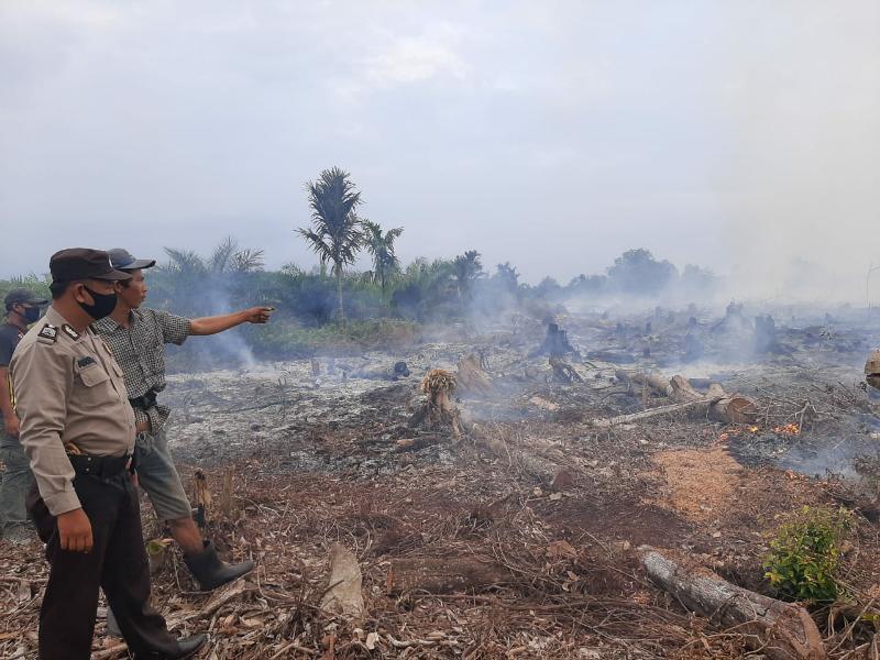 FOTO : Lokasi Lahan milik Wahono yang dibersihkan dengan cara di bakar.