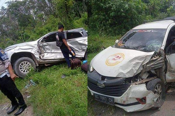 Mitsubishi Pajero Sport dan Daihatsu Xenia yang terlibat kecelakaan di Jl Jenderal Sudirman, Cambai, Prabumulih, Sumatera Selatan, (11/3/21). FOTO : TribunSumsel.com