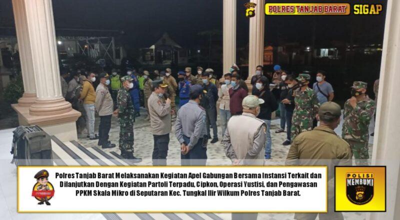 FOTO : Apel Gabungan Sebelum Patroli Terpadu Cipta Kondisi di Mapolres Tanjabbar, Sabtu (20/03/21).