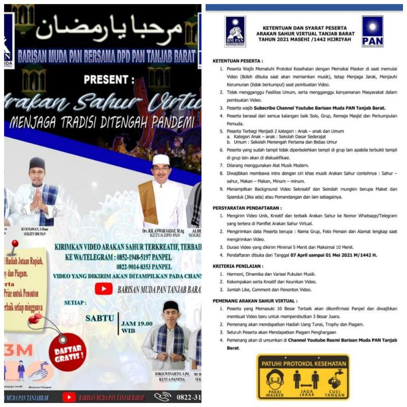 Pengumuman Lomba Festival Arakan Sahur Ramadhan 1422 H/ 2021 M Virtual DPD dan BM PAN Tanjab Barat.