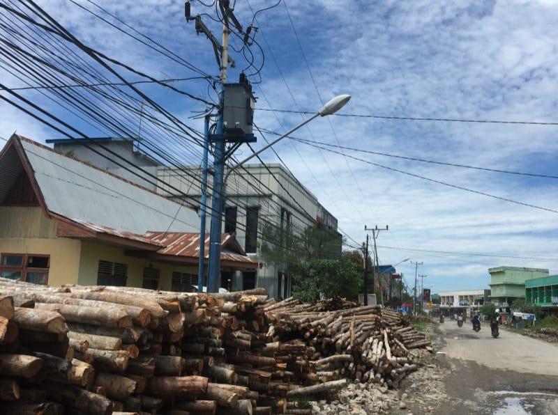 Salah Satu Tiang PLN yang ada di Sepeanjang Jalan Patunas-Panglima Cama-Roro. FOTO : Istimewa.