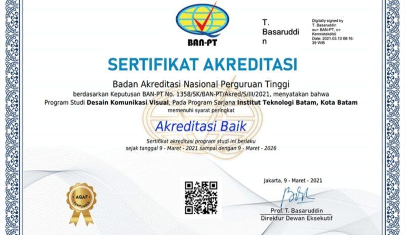 Gambar : Sertifikat Akreditasi Baik BAN-PT ITEBA