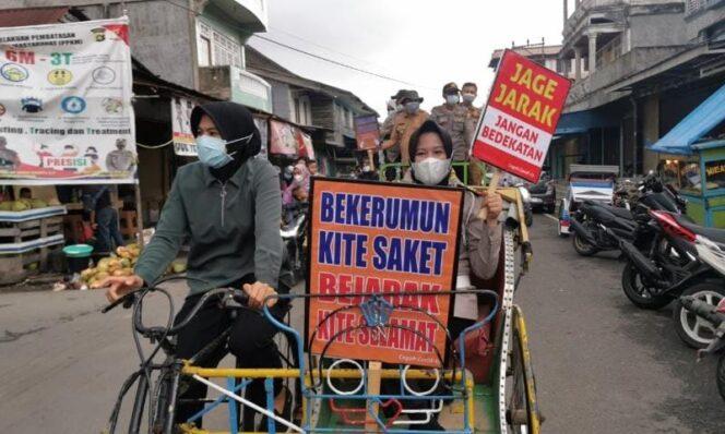 Kasat Narkoba IPTU Septia Intan Putri, STK, SIK Mendayung Becak Dakam Kegiatan ini. FOTO : Dok. PolresTJb.