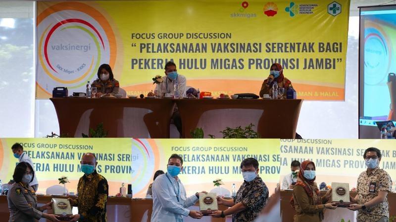 SKK Migas-PetroChina Gelar FGD Sukseskan Vaksinasi Bagi Pekerja Hulu Migas di Provinsi Jambi. FOTO : SKK Migas.
