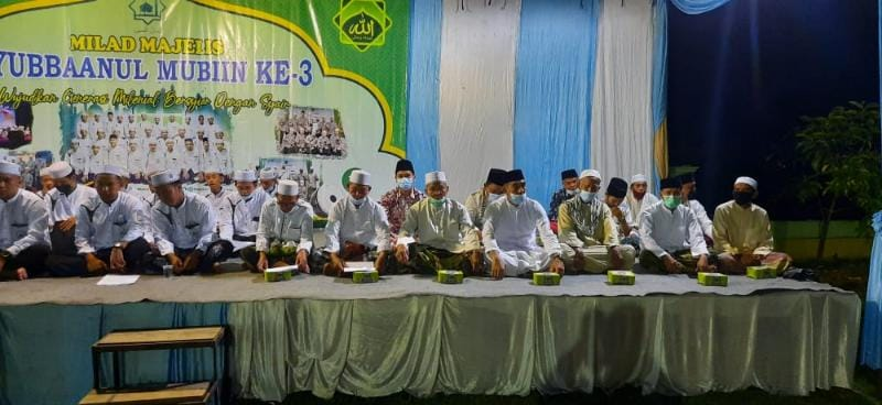 Acara Milad ke 3 Majelis Taklim Syubbanul Mubiin Desa Senaung, Rabu (14/07/21) Malam. FOTO : NOVAN