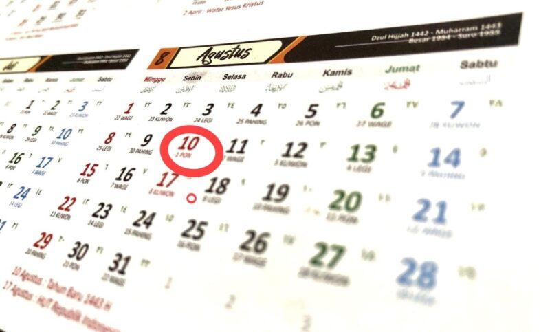 Ilustrasi : Kalender Tanggal 10 Agustus 2021 yang bersamaan 1 Muharram 1443 H.