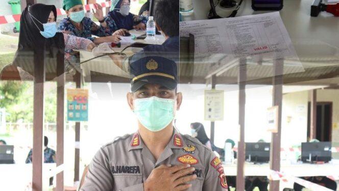 Kegiatan Vaksinasi Massal COVI-19 Dosis Kedua untuk pekerja di lingkungan SKK Migas-PetroChina di BGP dan BCC Camp, Kecamatan Betara, Jumat, (06/08/21). FOTO : HUMAS.