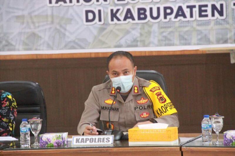 Kapolres AKBP Muharman Arta, SIK Pimpin Rapat Koordinasi Lintas Sektoral Pemantapan Kesiapan Pengamanan MTQ Ke-50 Tingkat Provinsi Jambi. Kamis (16/09/21). FOTO : ZN