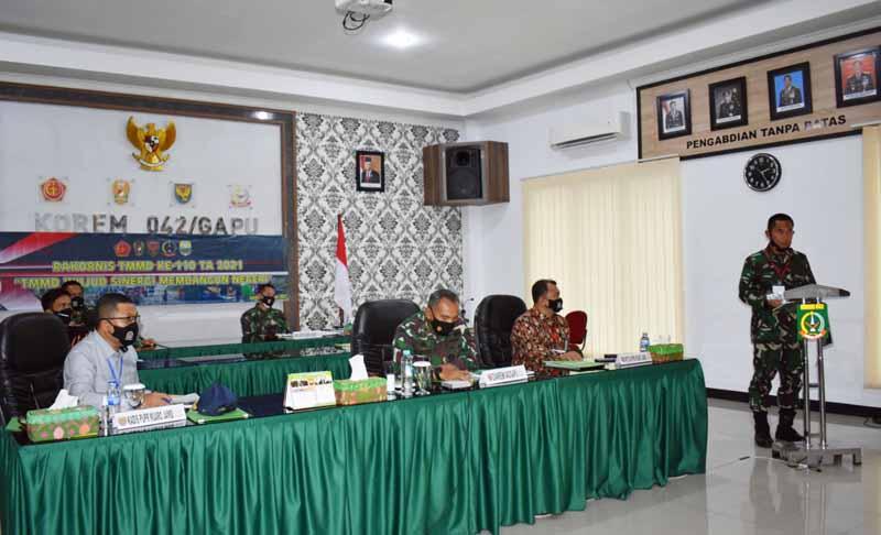 FOTO : Dandim 0415/Batanghari, Kolonel Inf J Hadiayanto saat paparan program TMMD ke 110 Tahun Anggran 2021 ke Pangdam II/Sriwijaya secara Virtual di Makorem 042/Gapu, Kamis (18/02/21).