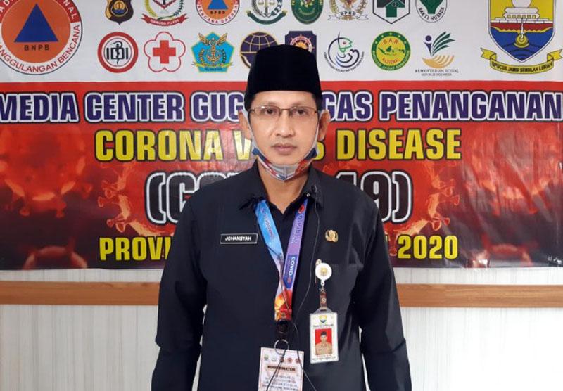 Juru Bicara (Jubir) Gugus Tugas Percepatan Penanganan dan Pencegahan Covid-19 Provinsi Jambi, Johansyah, Rabu (06/05/20)