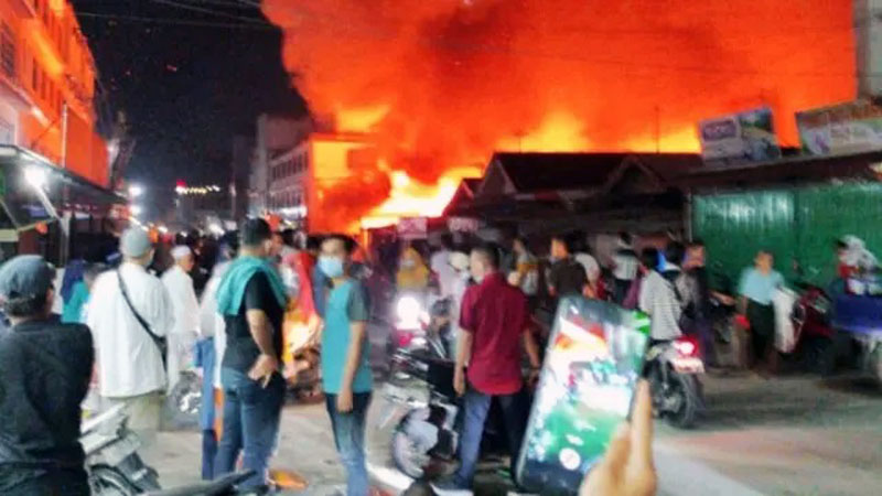 FOTO : Wisma Abu, Jalan Abdul Manaf, Kecamatan Tembilahan, Indragiri Hilir meninggal terjebak kebakaran, Senin (14/12/20)