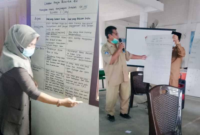 FOTO : Kepala Sekolah dan 7 Pengawas Tingkat SD dan MI di Tebo, Jambi Mendapatkan Pelatihan Diseminasi Manajemen Berbasis Sekolah (MBS) di gedung serba guna Desa Karang Dadi Rimbo Ilir Tebo.
