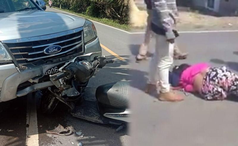 FOTO : Kondisi Motor dan Mobil yang Terlibat Kecelakaan di di jalan Lintas Tumur Kuala Tungkal-Jambi, tepatnya di Desa Muntialo RT 01, Kecamatan Betara, Kamis (27/08/20).