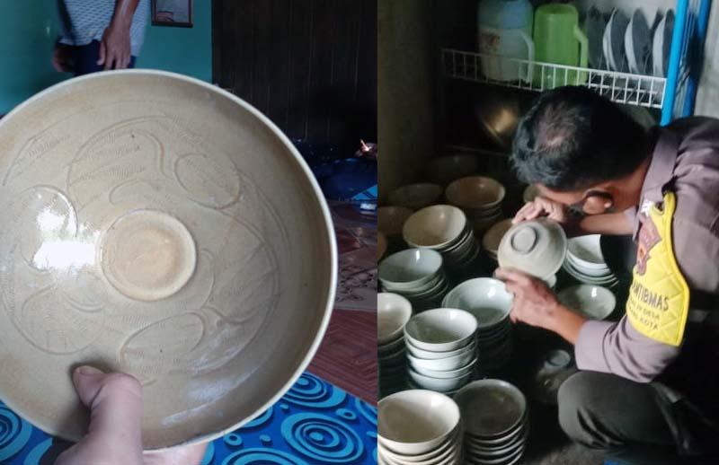 FOTO : Penemuan Mangkuk berjumlah 730 buah di RT 02 Parit Kerbau, Desa Mekar Alam, Kecamatan Seberang Kota, Jumat, 26 Februari 2021