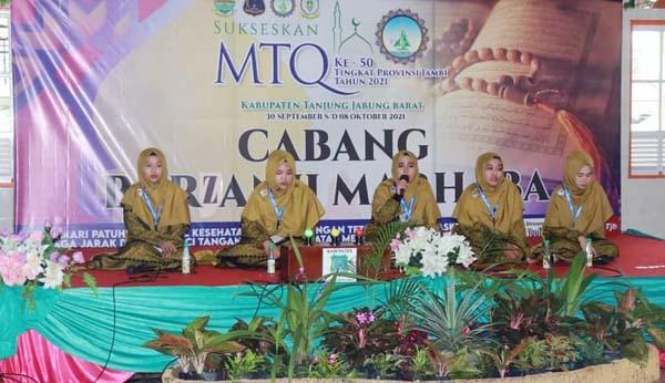 Cabang Berjanzi Marhaba Musabaqah Tilawatil Qur'an (MTQ) ke-50 tingkat Provinsi Jambi di Kabupaten Tanjab Barat. FOTO : Istimewa