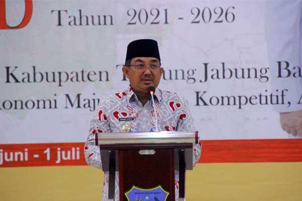 Bupati H. Anwar Sadat Menghadiri Sekaligus Membuka Acara Musrenbang Rancangan Rencana Pembangunan Jangka Menengah Daerah (RPJMD) Kabupaten Tanjung Jabung Barat Tahun 2021-2026, Selasa (29/06/21).
