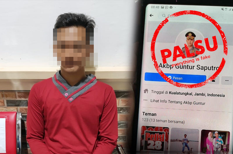 FOTO : Pelaku HB yang Membuat Akun Facebook Palsu mencatut nama dan foto Kapolres Tanjabbar AKBP Guntur Saputro, S.IK, MH