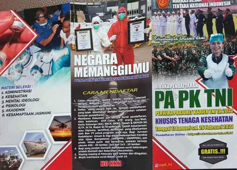FOTO : TNI membuka Pendaftaran Perwira Prajurit Karier Khusus Tenaga Kesehatan 2021/Ist