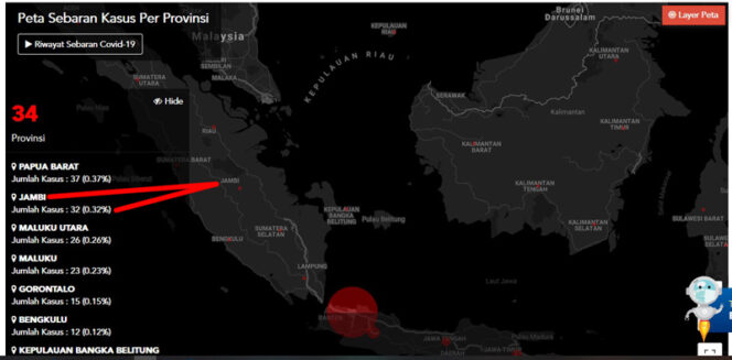 FOTO : Screenshot Laman Resmi Situ gugus tugas Pemerintah yaitu covid19.go.id, Kamis (30/04/20)