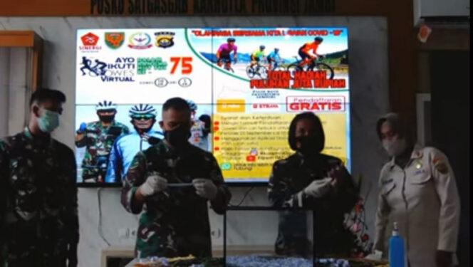 FOTO : Korem 042 Gapu Umumkan Pemenang Lomba Gowes dan Run Virtual dalam Rangka HUT.