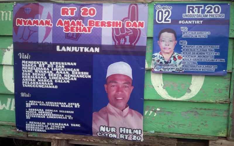 FOTO : Spanduk/baleho Salah Satu Calon pada Pemilihan Ketua RT 20 di BTN Permata Hijau, Kelurahan Patunas