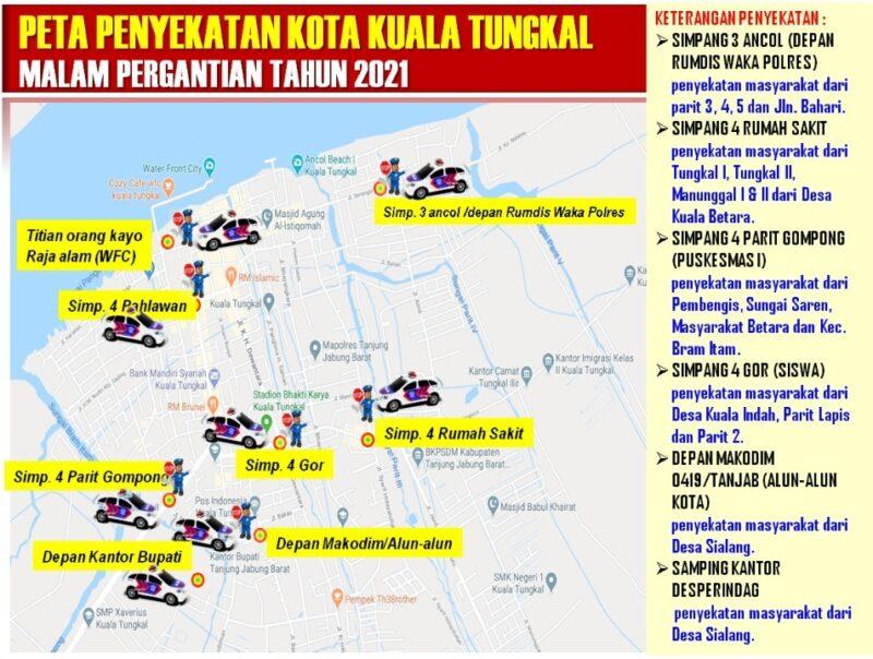 FOTO : Skema Titik Penyekatan Lalulintas di Kota Kuala Tungkal Malam Tahun Baru. Sumber : Bag Ops Polres Tanjab Barat