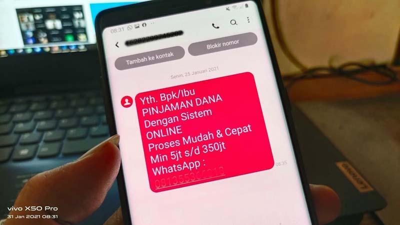 FOTO : Salah Satu SMS Penawaran Pinjaman Online (PINJOL)