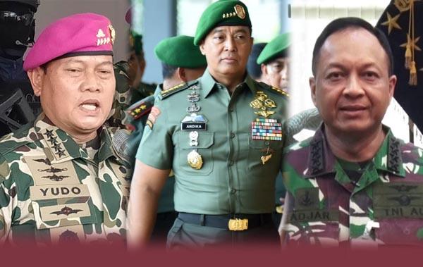 FOTO : dari Kiri KASAL Laksamana TNI Yudo Margono, KASAD Jenderal TNI Andika Perkasa dan KASAU Marsekal Fadjar Prasetyo.