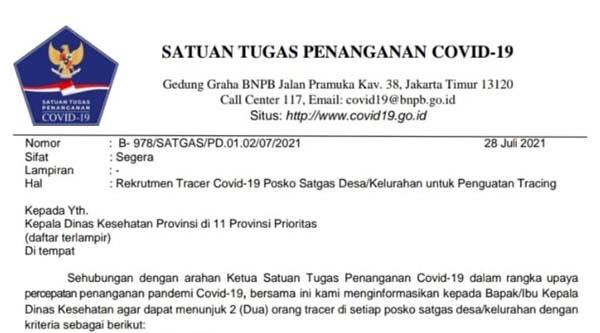 Satgas Covid-19 Buka Rekrutmen Tracer Covid-19 Posko Satgas Desa/Kelurahan 11 Provinsi. FOTO : Potongan Susat Satgas Covid-19