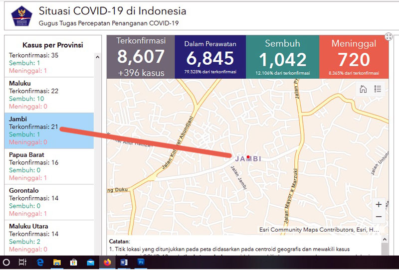 FOTO : Screenshot Laman Resmi Situ gugus tugas yaitu covid19.go.id, Sabtu, (25/04/20)