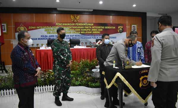 Polda Jambi Canagkan Pebangunan Zona Integritas menuju WBK dan WBBM di Rupatama Lantai 4 Polda Jambi, Kamis,(15/04/21).