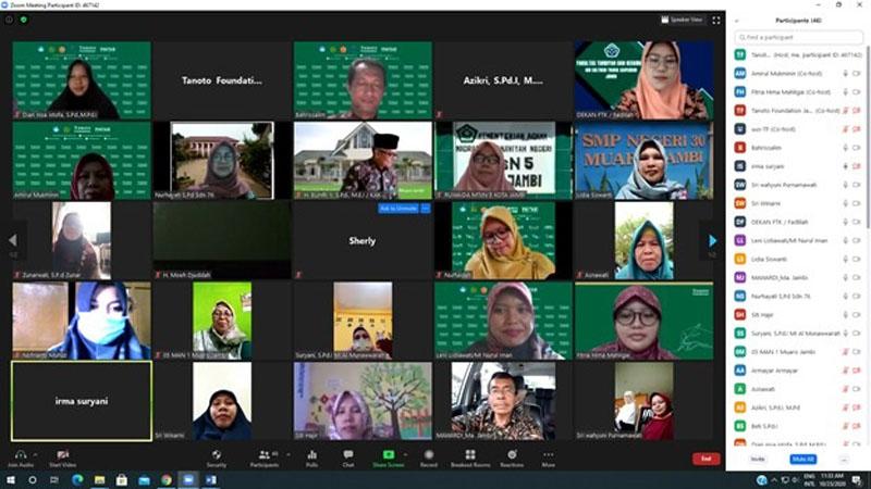 FOTO : Tangkapan Layar Suasana Webinar Praktik Baik Universitas Jambi dan UIN Sulthan Thaha Saifuddin Jambi, Sabtu (24/10/20)