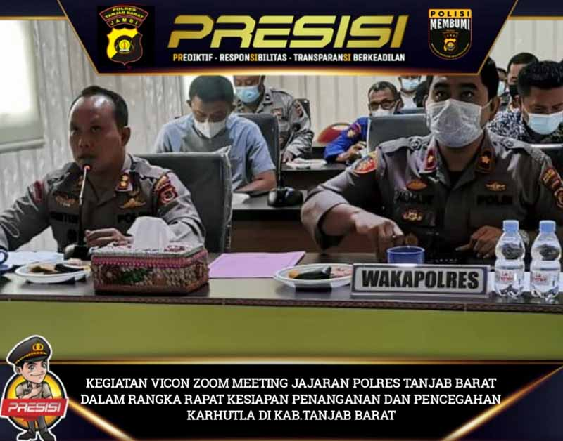 Kapolres Tanjab Barat AKBP Guntur Saputro, SIK, MH gelar Zoom Meeting dengaan jajaran, Sabtu (27/03/21).