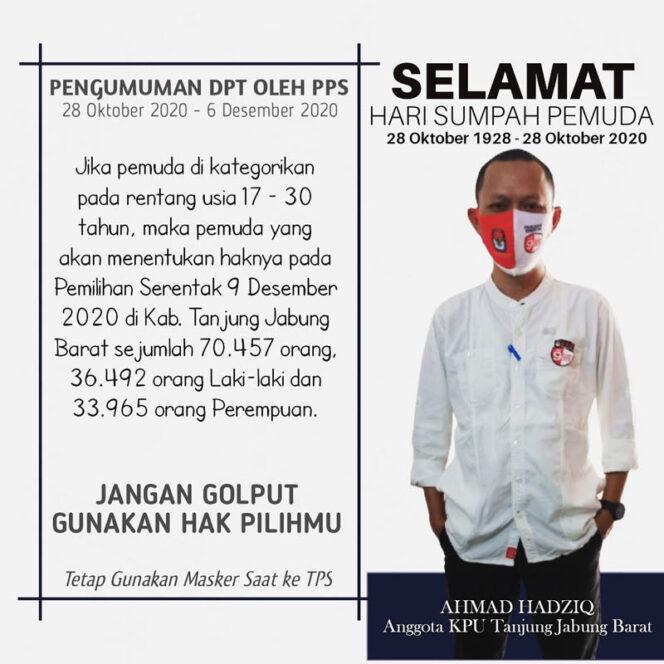 FOTO : Ahmad Hadziq, S.HI Komisioner Divisi Program dan Data KPU Kabupaten Tanjung Jabung Barat