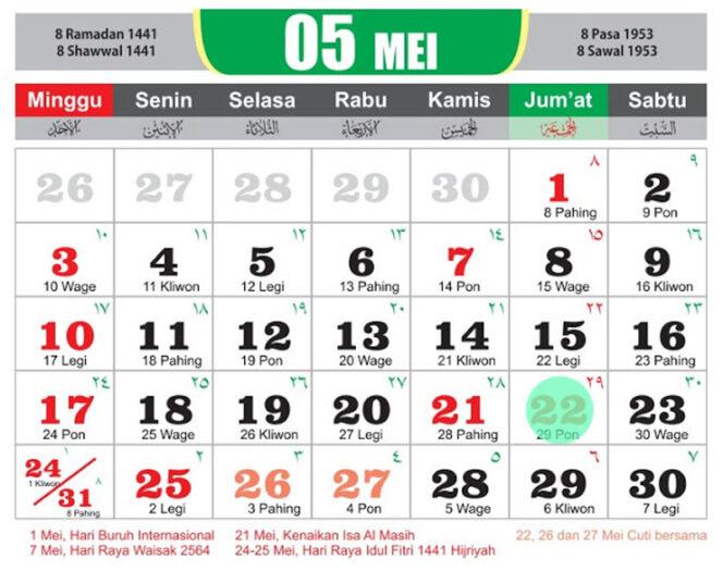 Kalender Bulan Mei 2020
