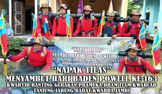 FOTO : Kegiatan Napak Tilas Dewan Kerja Ranting (DKR) Gerakan Pramuka Kwartir Ranting Bram Hitam dari KecamatanBram Hitam menuju Kwartir Daerah Jambi, Provinsi Jambi, Kamis (13/02/20)